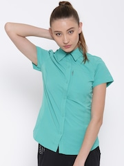 Columbia Women Sea Green Solid Shirt
