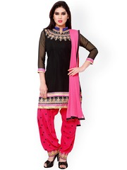 Saree mall Black & Pink Embroidered Georgette Unstitched Dress Material