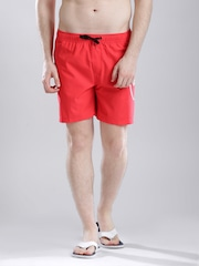 Quiksilver Red Surfing Shorts with Printed Detail