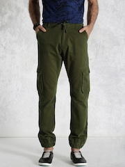Roadster Olive Green Cargo Jogger Trousers