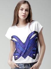 Silvian Heach DENIM White & Blue Printed Top