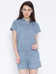 Lee Blue Printed Playsuit