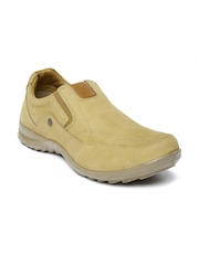 Woodland Men Beige Leather Casual Shoes