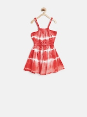 People Girls Coral Red Tie-Dyed Fit & Flare Dress