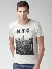 Moda Rapido Grey Melange Printed T-shirt
