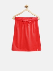 United Colors of Benetton Girls Coral Red A-Line Skirt