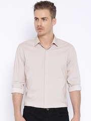 Peter England Casuals Beige Printed Slim Casual Shirt