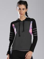HRX by Hrithik Roshan Black Printed Hooded Sweatshirt