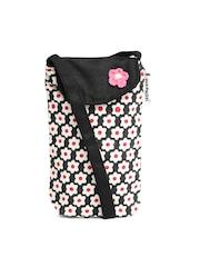 Pick Pocket Women Beige & Black Floral Print Mobile Pouch