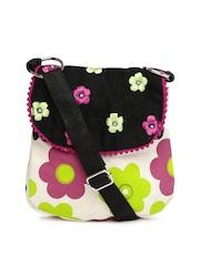 Pick Pocket Off-White & Black Floral Print Sling Bag