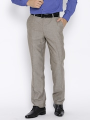 John Players Beige Linen Blend Formal Trousers