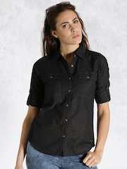Roadster Black Speckled Casual Shirt