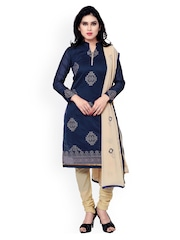 Saree mall Navy & Beige Embroidered Banarasi Chanderi Unstitched Dress Material