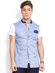 MR BUTTON Blue Linen Nehru Jacket