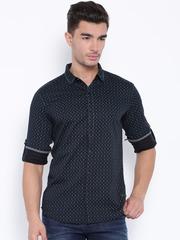 SPYKAR Black & Blue Printed Casual Shirt