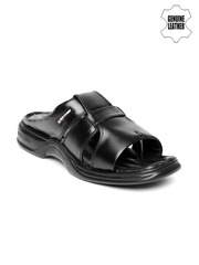 Red Chief Men Black Genuine Leather Sandals