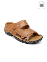 Red Chief Men Brown Genuine Leather Sandals