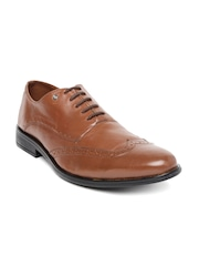 INVICTUS Men Brown Pointy-Toed Leather Brogues