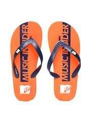 MTV Men Navy & Orange Printed Flip-Flops