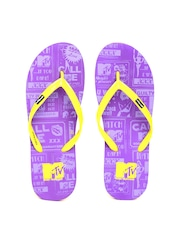 MTV Women Yellow & Purple Printed Flip-Flops