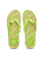 MTV Women Green & Olive Brown Printed Flip-Flops