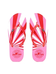 MTV Women Red & Pink Printed Flip-Flops