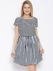 United Colors of Benetton Navy Nautical Striped Fit & Flare Dress