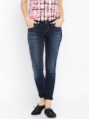 Mast & Harbour Women Navy Skinny Fit Mid-Rise Clean Look Jeans