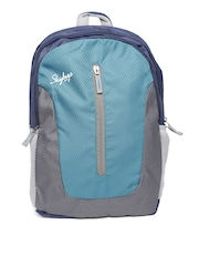 Skybags Unisex Blue & Grey Textured Backpack