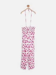 Gini & Jony Girls White Floral Print Jumpsuit