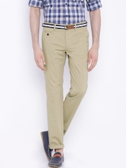 Indian Terrain Beige Brooklyn Slim Fit Trousers