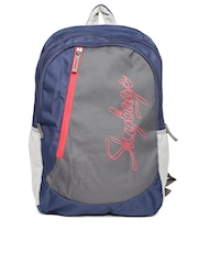 Skybags Unisex Grey & Navy Backpack