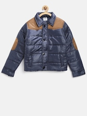 YK Boys Navy Colourblocked Puffer Jacket