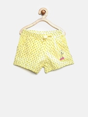 Tweety by Kids Ville Girls Yellow Printed Shorts