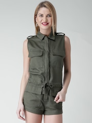 FOREVER 21 Olive Green Herringbone Patterned Playsuit