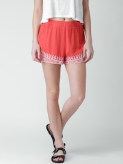 FOREVER 21 Coral Orange Embroidered Shorts