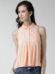 FOREVER 21 Peach-Coloured Schiffli Embroidered Crinkled Shirt
