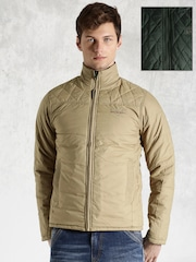 Roadster Beige & Green Quilted Reversible Jacket