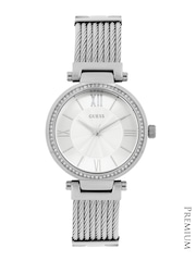GUESS Women Silver-Toned Dial Watch W0638L1