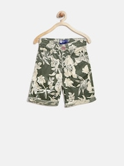 612 League Boys Olive Green & Grey Tropical Print Shorts