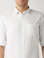 ETHER White & Black Printed Casual Shirt