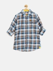 U.S. Polo Assn. Kids Boys Blue Checked Shirt