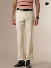 Louis Philippe Beige New Standard Fit Formal Trousers