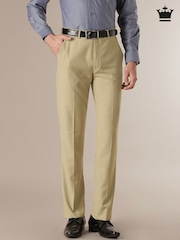 Louis Philippe Beige Classic Fit Formal Trousers