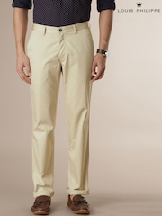 Louis Philippe Beige Milano Fit Chino Trousers