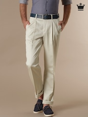 Louis Philippe Beige New Classic Fit Casual Trousers