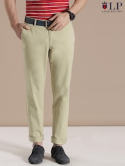Louis Philippe Sport Beige Steven Slim Fit Casual Trousers