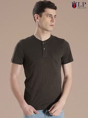 Louis Philippe Jeans Brown Henley T-shirt