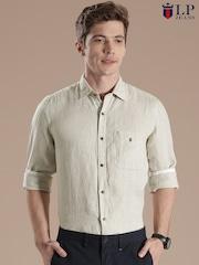 Louis Philippe Sport Light Beige Tailored Linen Smart Casual Shirt