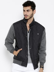 Roadster Black & Grey Melange Hooded Bomber Jacket